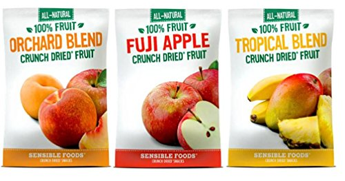 Sensible Foods All-Natural Gluten Free Vegan Non-GMO 100% Fruit Crunch Dried Snacks Large Bag 3 Flavor Variety Bundle: (1) Orchard Blend, (1) Fuji Apple, and (1) Tropical Blend, 1.3 Oz. Ea. (3 Bags) (Fruit Crunch compare prices)