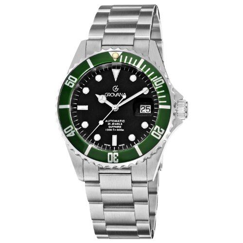 Grovana Diver Automatic 1571.2134 - Reloj de caballero automático, correa de acero inoxidable color plata
