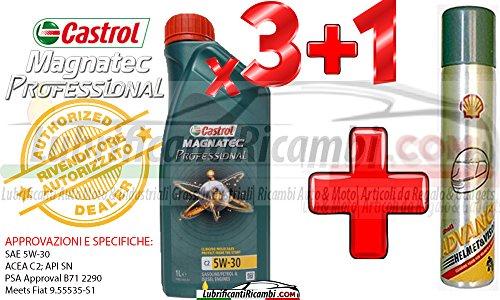 Olio-Motore-Auto-Castrol-Magnatec-Professional-5w30-C2-Fully-Synthetic-per-motori-benzinaDiesel-3-litri-1-Bomboletta-Shell-Advance-Helmet-Visor-Spray-Pulitore-casco-Finestrini-auto-piastrelle-specchi-