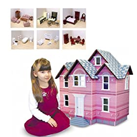 Victorian Dollhouse with 6 Rooms of Furniture & Family Dolls by Melissa and Doug