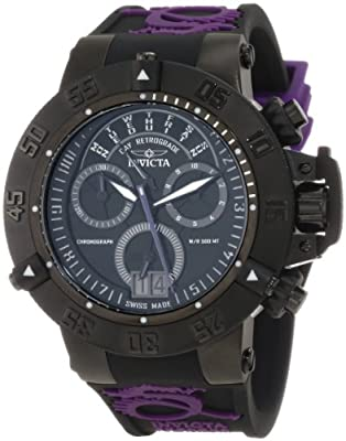 Invicta Men's 10190 Subaqua Noma III Chronograph Black Dial Black and Purple Silicone Watch