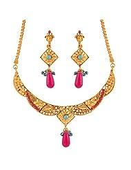 Variation Blue & Pink Necklace Set For Women (VD15930)