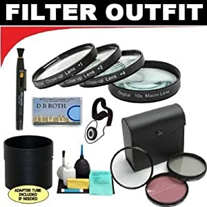 Deluxe 7 Piece Filter Kit Which Includes A +1 +2 +4 +10 Close-Up Macro Filter Set with Pouch + High Resolution 3-piece Filter Set (UV, Fluorescent, Polarizer) + 6-Piece Deluxe Cleaning Kit + Lenspen + Lens Cap Keeper + DB ROTH Micro Fiber Cloth For The Panasonic AG-DVX100, AG-HVX200, PV-DV100 Mini Dv Camcorders