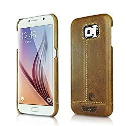 Pierre Cardin Luxury Leather Back Case Cover for Samsung Galaxy S6 Edge + (Plus) - Brown