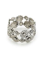 Bling Rocks Designer Contemporary Celebrity Style 'Twinkle Flower' Diamante and Silver Stretch Bracelet.