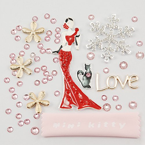 MINI KITTY XMAS GIFT 3D Bling rhinestone Beautiful girl in red dress petal flowers cat lady love snow Cell Phone Flat back Kawaii Deco Kit / Set ,cellphone diy ,merry christmas gift ,xmas for iphone 4 4S ,iphone 5 5c 5G,for iphone 6 for iphone 6 plus for samsung note 4 samsung s5 mini s5 i9600 for samsung galaxy s3 i9300 ,for samsung galaxy s4 i9500 for sony/htc/nokia/google etc +free microfiber cloth