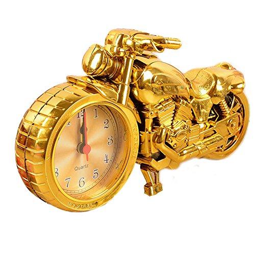 Moolecole Cool Motorcycle Shape Alarm Clock Creative Fashion Personality Home Furnishing (gloden)