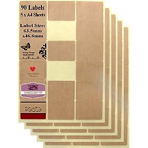 90 Oblong Buff Parcel Paper Self Adhesive Laser Ink Jet Printer Labels - 5 A4 Sheets x 18 labels
