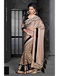 AG Lifestyle Beige & Black Chiffon Saree With Unstitched Blouse ASL602