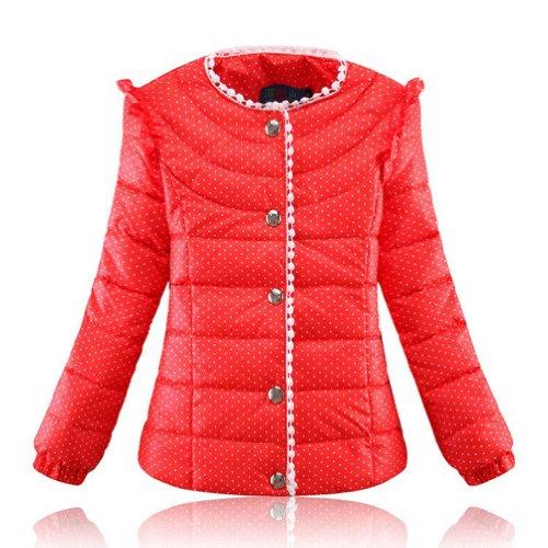 Little Hand Little Girls' Winter Polka Dot Single Breasted Clothing Coat front-870476