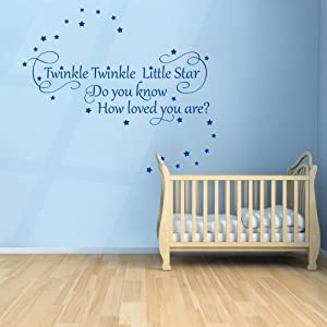 Twinkle Twinkle Little Star 2 - Nursery Wall Quote Decal Sticker (Small)