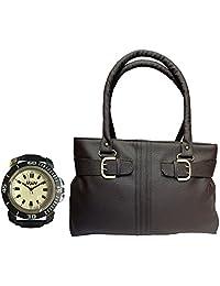 Arc HnH Women HandBag + Watch Combo - Buckle Brown Handbag + Sporty Black Watch