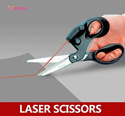 Laser guided scrapbooking sewing scissors for paper cutting , easy to cut a straight line (Color: Black)
