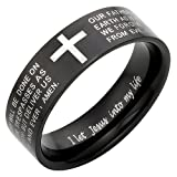 New Mens Lords Prayer in ENGLISH Stainless Steel Ring 8mm Wide Brand New. Size Z+1 - Stylish Design. Engraved with I let Jesus into my life on the inside of the Ring. Available in Most Sizes This is Size Z+1 Click Through to see other Sizes Comes in a Qu