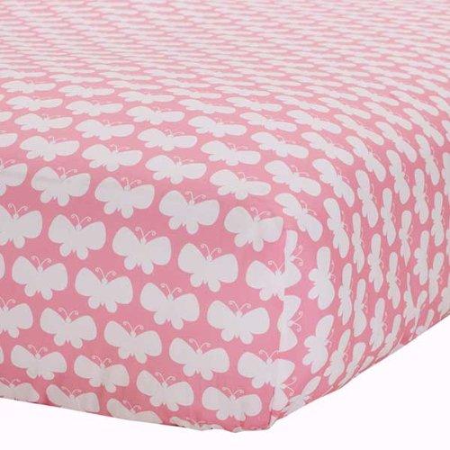 Safe Sleep Pink & White Butterflies Fitted Sheet - 1