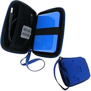 igadgitz Etui Housse Pochette Case rigide, en EVA et de couleur Bleu pour certains disques durs externes portables de 2.5 pouces (6.4 cm)