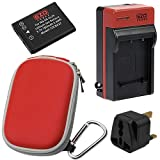 EZOPower EN-EL19 Rechargeable Battery + Charger + Red Compact Case for Nikon COOLPIX S6800 S5300 S3600 S3500 S5200 S6500 S4200 S3300 S4300 S4100 Digital Camera