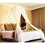 White Square Top Bed Canopy - Holiday Resort Style