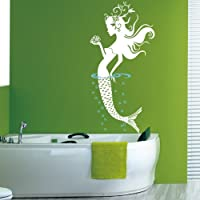 Sea Mermaid Wall Decal Sticker Bathroom Living Room Stickers Vinyl Removable Wide 56cm High 120cm White Color from QINU KEONU