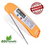 Instant Read Thermometer, Food Thermometer,Sokos Quick Read Digital Cooking Thermometer for All Food | Grill | BBQ | Meat and Candy, Fastest Digital Thermometer with LCD Screen (Orange)