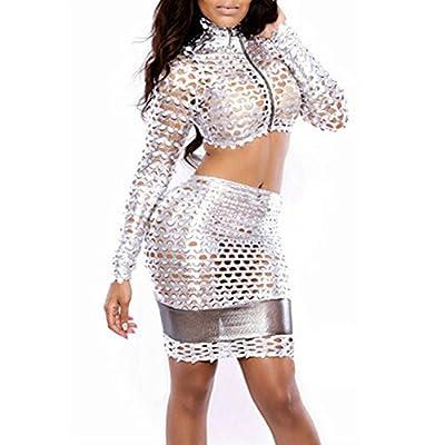 Janecrafts Women's Sexy Shiny Two Piece Set Mesh See-through Club Mini Dress