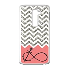 buy Gray Chevron Splicing Pink Background Anchor Infinite White Stylish Cover Case & Dust Plug For Lg G2 At&T With High-Quality Plastic