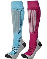 Trespass Janus Ladies Thermal Ski Sock 2 Pair Pack Bluewater/Sangria, 3-6, 6-9