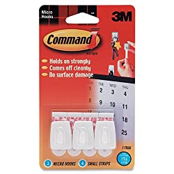 Command Micro Plastic Hooks, 3-Hook, 4-Strip