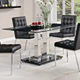 Coaster Dining Table with Tempered Glass Top in Chrome Finish