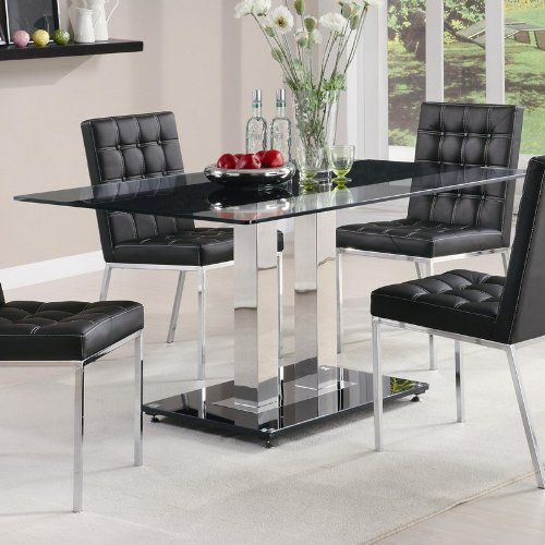 Cheap Dining Table with Tempered Glass Top in Chrome Finish (VF_102311)