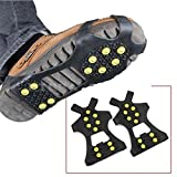 (2 Pieces) Leebei Non-slip shoe cover Ice Snow Grips Over Shoe Boot Traction Cleat Rubber Spikes Anti Slip Mountaineering Non-slip Shoe Cover 10-Stud Slip-on Stretch Footwear (Yellow, Medium)