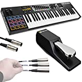 M-Audio Code 49 Black | 49-Key USB MIDI Keyboard Controller with X/Y Touch Pad (16 Drum Pads / 9 Faders / 8 Encoders) + Universal Pedal + Pro MIDI Cable + Label Kit - Top Value M-audio Accessory Kit!!