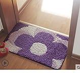 玄関 マット 屋内 室内 滑り止め付 花柄 (50×80 紫)