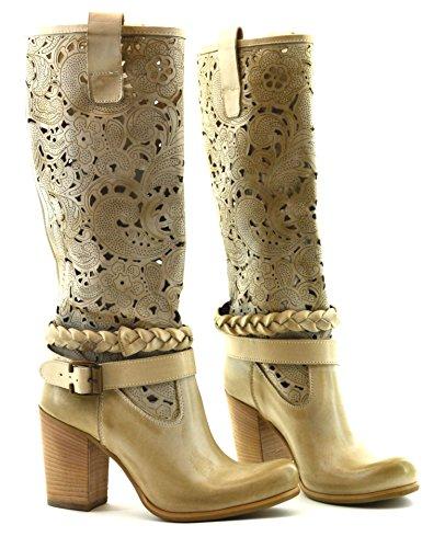 Shoesbooking collection - Cod. SB-1601-B, tortora, scarpe alla moda, stivali donna, stivali texani, made in Italy, in vera pelle artigianali (39)