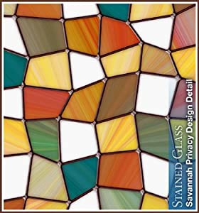Savannah Privacy Stained Glass Window Film (32 in x 86 in) by Wallpaper For WindowsTM