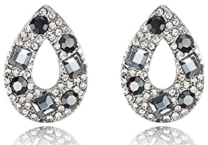 Black Diamond Color Tear Drop Swarovski Element Crystals Rhodium Plated Post Earrings - Unique Bridesmaids Jewelry for Weddings - Perfect for Cocktail Parties, Proms, Holiday Parties & Other Occasions
