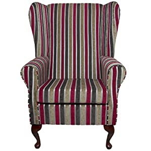 High Back Westoe Chair In Gold Red Stripe Fabric Kitchen Am