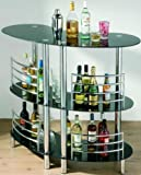 3 TIER CURVED BLACK GLASS BAR TABLE BARTENDING UNIT