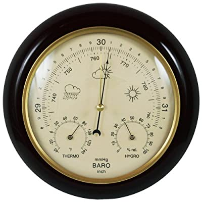 Ambient Weather WS-YG302A-Y Cherry Finish Traditional Barometer with Temperature and Humidity (Beige Dial) by Ambient Weather