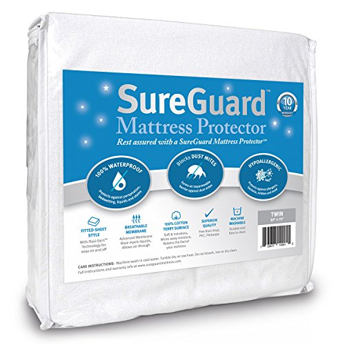 Twin Size SureGuard Mattress Protector - 100% Waterproof, Hypoallergenic - Premium Fitted Cotton Terry Cover - 10 Year Warranty (Twin Size Matress 39 compare prices)