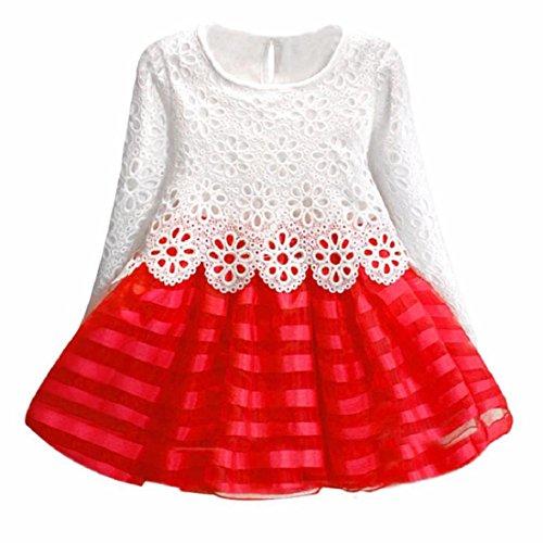Vovotrade® Abito a maniche lunghe ragazze principessa vestito fiore della cavità (130, Rosso)