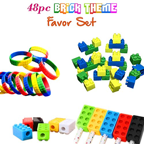 Brick-Building-Blocks-Party-Favor-Novelty-Toys-Set-Block-Bracelets-Erasers-Sharpeners-48pcs-Great-for-Children-Birthdays-Kids-Goody-Bags-Reward-Prize-Boxes