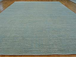 12 x 18 HAND KNOTTED SKY BLUE STRIPED GABBEH ORIENTAL RUG G22052