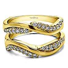 buy Bypass Wedding Ring Guard Enhncer With 0.54 Cts Of Cz In Yellow Silver