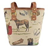 * SALE! * Tapestry Ladies Tote Hand & Over shoulder Day Bag (Equestrian Theme) - Gobelin Styleby Green Bear QHS