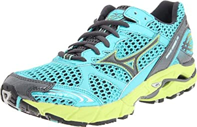 Mizuno Women's Wave Rider 14 Running Shoe,Ceramic/wild Lime-Dark Shadow,11.5 M US