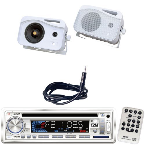 Pyle Marine Radio Receiver, Speaker and Cable Package - PLCD36MRW AM/FM-MPX IN-Dash Marine CD/MP3 Player/Weatherband/USB & SD Card Function - PLMR26 5'' 500 Watt 3-Way Water Proof Mini Box System (White) - PLMRNT1 22