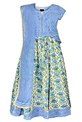 COTTON BLUE LACE LENGHA CHOLI