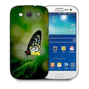 Snoogg Butterfly In Leaf Printed Protective Phone Back Case Cover For Samsung S3 / S III