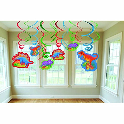 "Amscan Dashing Prehistoric/Dinosaur Value Pack of Swirl Birthday Party Decorations, 24"", Pink/Blue/Green"